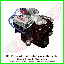 Lead Foot Performance - 454 Big Block Chevy Engine Complete 4 Bolt Main - Rated at 415 Hp / 497 Ft Lbs & FREE Shipping