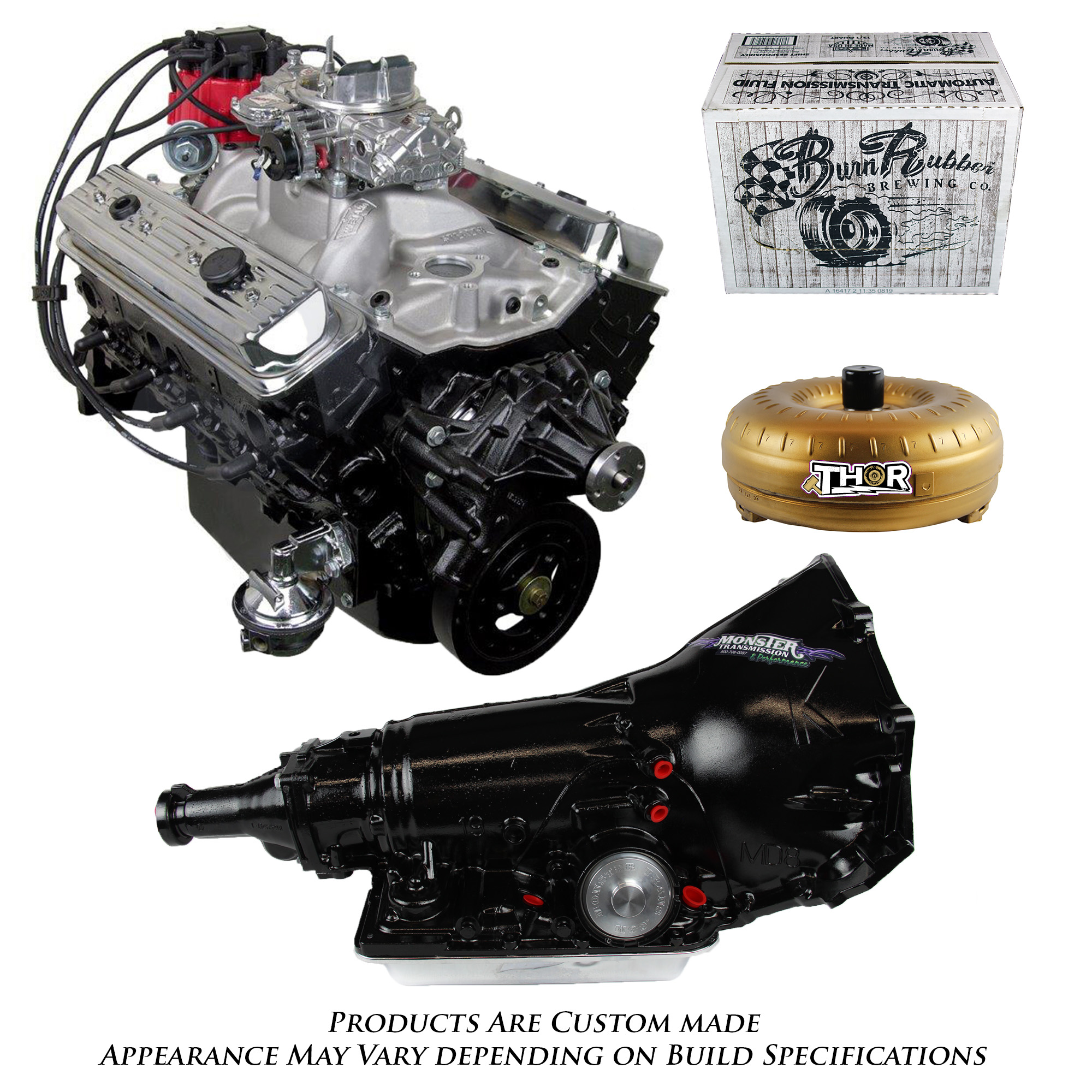 Chevy 350 Engine With Transmission For Sale: Monster Powertrain Package, Chevy 383 Engine And 700R4