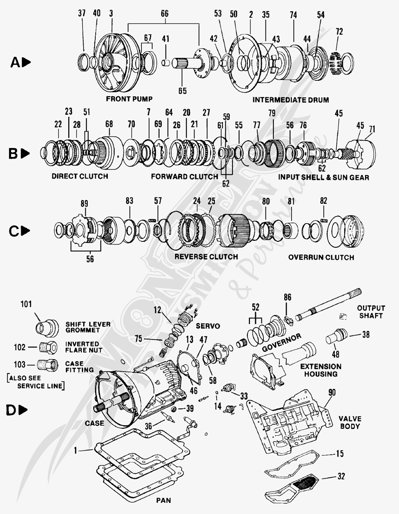 700r4 4l60e parts blow up diagram wiring diagram and  ford c6