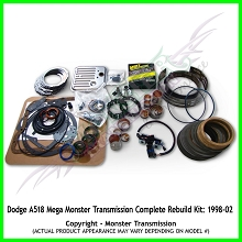 Dodge A518 Mega Monster Transmission Complete Rebuild Kit: 1998-2002