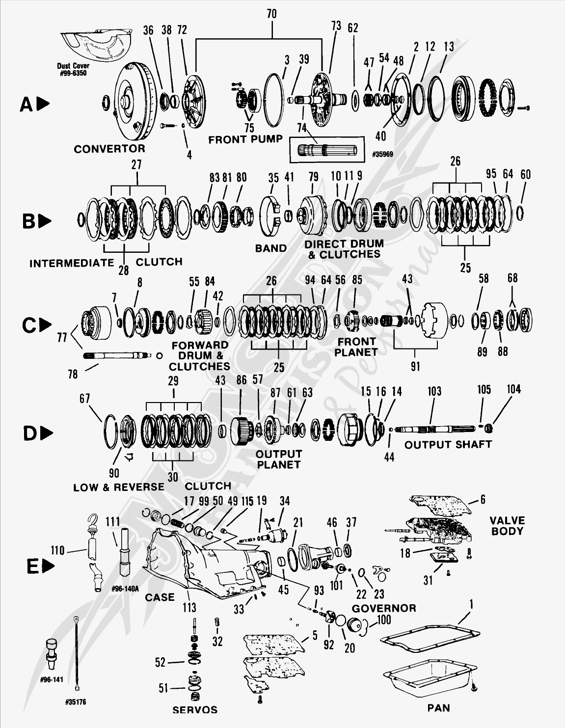 turbo 350c th350c automatic transmission parts and diagram rh monstertransmission com chevy 350 transmission parts diagram chevy 3500 parts diagram
